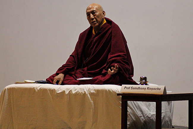 Venerable Prof Samdhong Rinpoche, Former Prime Minister of Tibetan Government in Exile delivers his lecture 'Satyagraha, Insistence on Truth' at IIT Bombay during the Dandi Memorial Sculptures' Workshops on December 21, 2013. The Dandi Salt Satyagraha Memorial is a project of the Ministry of Culture, Government of India, advised by a High-Level Dandi Memorial Committee and coordinated and implemented by IIT Bombay in association with an international design team. More about Dandi Memorial Project: www.dandimemorial.org (Photos: Prayag Mukundan)