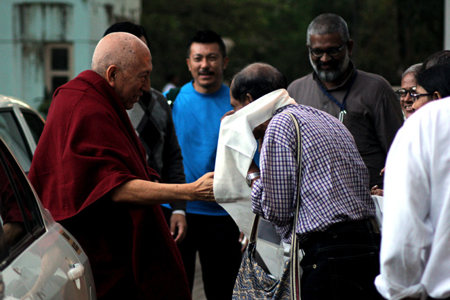 Venerable Prof Samdhong Rinpoche received by IIT Bombay officials, Dandi Workshop participants and Friends of Tibet Campaigners at IIT Powai campus on December 20, 2013. He was on a three-day visit to the campus in connection with the Dandi Memorial Sculptures' Workshops organised by IIT Bombay.