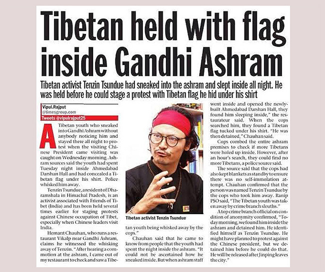 Tenzin Tsundue does it again, this time at Sabarmati Ashram (Ahmedabad Mirror, September 17, 2014)