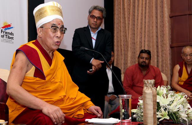 His Holiness the XIV Dalai Lama of Tibet talks to Friends of Tibet (Kerala) members and supporters at The Gateway Hotel of Taj, Kochi on September 04, 2010 at a private audience. (Photos: Kumar Studios)