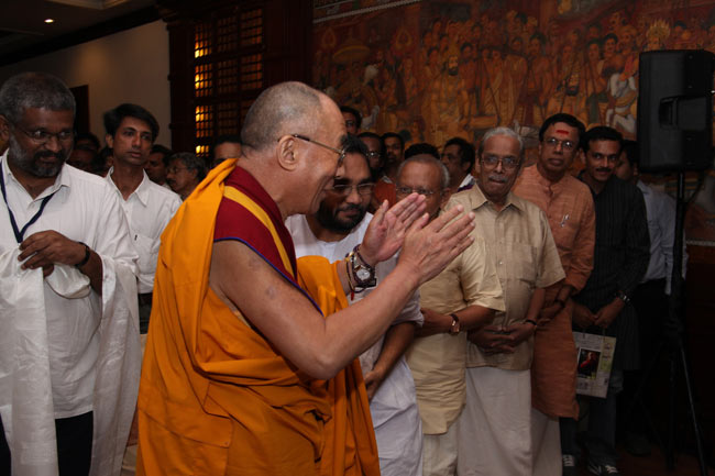 His Holiness the XIV Dalai Lama is being welcomed at the Anchor Hall of The Gateway Hotel, Marine Drive, Ernakulam on September 04, 2010 for a private audience organised by Friends of Tibet.