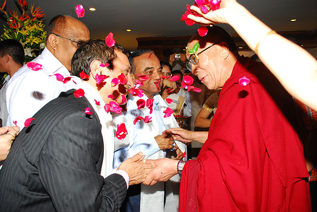 PK Mohankumar (COO, Gateway Hotels), T Damu (Vice President, Taj Hotels), Appu John, Jose VJ and Eldtho Mathew of Friends of Tibet welcome His Holiness the XIV Dalai Lama at The Gateway Hotel, Marine Drive, Ernakulam on September 04, 2010.