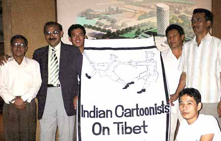 Cartoonist Prriya Raaj with Friends of Tibet Members
