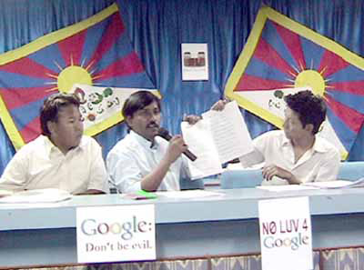 Dr Rajesh of Friends of Tibet (Hyderabad chapter) and Regional Tibetan Youth Congress members address the media