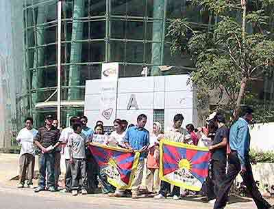 Tibetan Youth Congress and Friends of Tibet protest in front of the Google India Office in Hyderabad on February 14, 2006