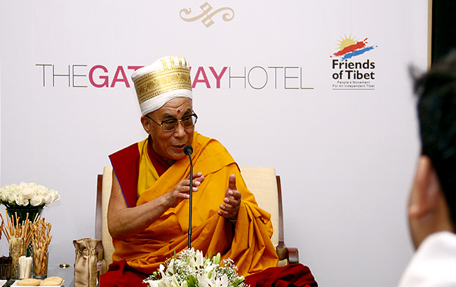 His Holiness the XIV Dalai Lama of Tibet talks to Friends of Tibet (Kerala) members and supporters at The Gateway Hotel of Taj, Kochi on September 04, 2010 at a private audience. (Photos: Jijo Abraham)