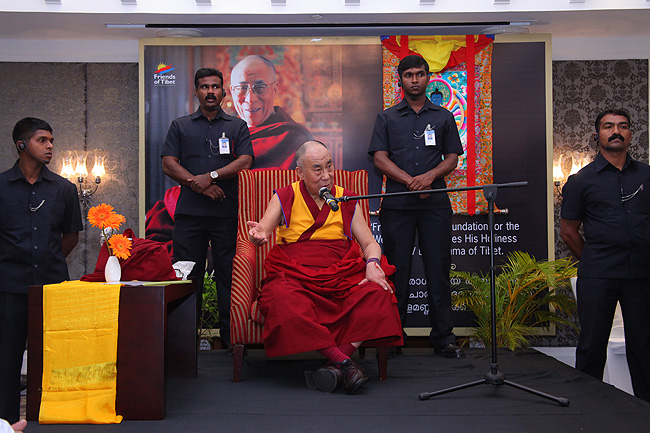 His Holiness the XIV Dalai Lama of Tibet addressing a gathering of 'Friends of Tibet' Members and 'Wellbeing' Beneficiaries at the Holiday Inn in the southern city of Kochi in Kerala on November 25, 2012. His Holiness spoke about 'The Art of Happiness' at this event organised by the 'Friends of Tibet Foundation for the Wellbeing'. (Photo: Ramesh Kumar PS)